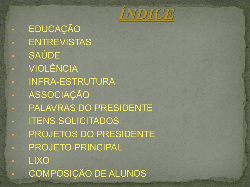 EDUCAÇÃO ENTREVISTAS SAÚDE VIOLÊNCIA INFRA-ESTRUTURA ASSOCIAÇÃO PALAVRAS DO PRESIDENTE ITENS SOLICITADOS PROJETOS DO PRESIDENTE PROJETO PRINCIPAL LIXO