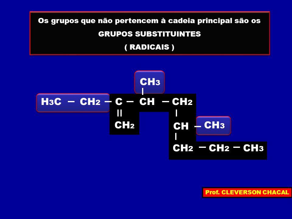 Os grupos que não pertencem à cadeia principal são os GRUPOS SUBSTITUINTES ( RADICAIS ) Os grupos que não pertencem à cadeia principal são os GRUPOS SUBSTITUINTES ( RADICAIS ) H3CH3C CH 2 C CH CH 3 CH 2 CH 3 CH 2 CH 3 Prof.