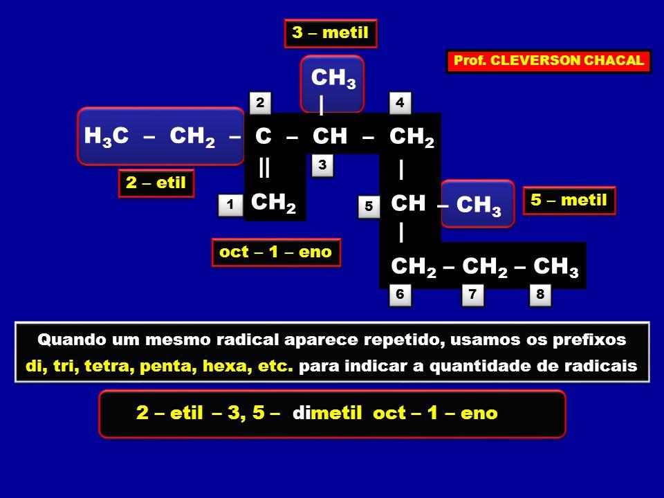 C – CH – CH 2 || CH 2 | CH | CH 2 – CH 2 – CH 3 CH 3 | H 3 C – CH 2 – – CH 3 1 1 2 2 3 3 4 4 5 5 6 6 7 7 8 8 2 – etil 3 – metil 5 – metil oct – 1 – eno 2 – etil– 3, 5 –metildioct – 1 – eno Quando um mesmo radical aparece repetido, usamos os prefixos di, tri, tetra, penta, hexa, etc.