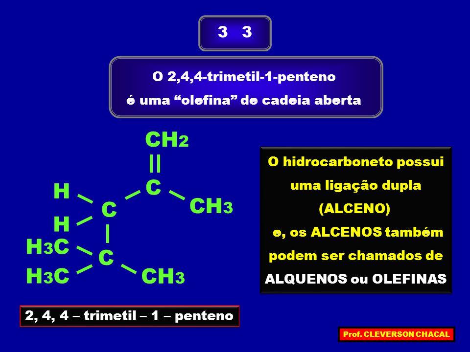 O 2,4,4-trimetil-1-penteno é uma olefina de cadeia aberta 3 3 2, 4, 4 – trimetil – 1 – penteno H C C C H H3CH3C H3CH3C CH 3 CH 2 O hidrocarboneto possui uma ligação dupla (ALCENO) e, os ALCENOS também podem ser chamados de ALQUENOS ou OLEFINAS O hidrocarboneto possui uma ligação dupla (ALCENO) e, os ALCENOS também podem ser chamados de ALQUENOS ou OLEFINAS Prof.
