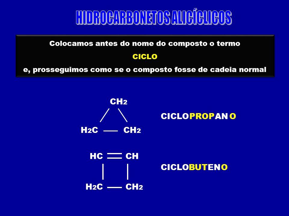 Colocamos antes do nome do composto o termo CICLO e, prosseguimos como se o composto fosse de cadeia normal Colocamos antes do nome do composto o term