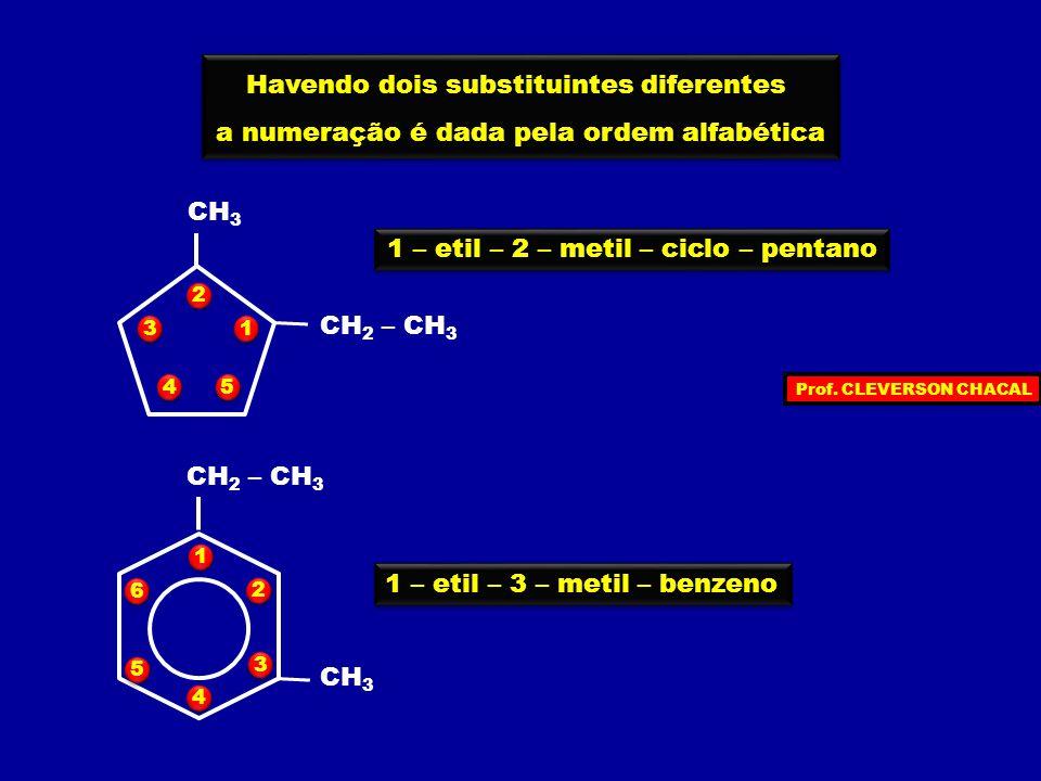 1 – etil – 2 – metil – ciclo – pentano 1 – etil – 3 – metil – benzeno CH 3 CH 2 – CH 3 Havendo dois substituintes diferentes a numeração é dada pela ordem alfabética Havendo dois substituintes diferentes a numeração é dada pela ordem alfabética CH 3 CH 2 – CH 3 1 1 2 2 3 3 4 4 5 5 1 1 2 2 3 3 4 4 5 5 6 6 Prof.