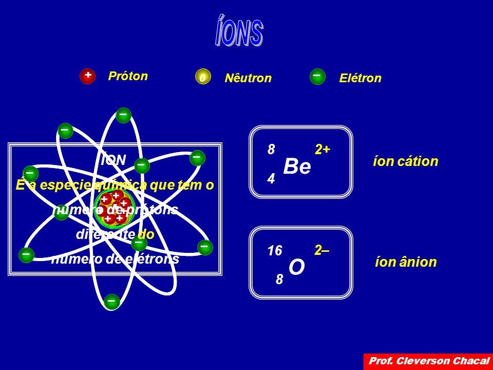 Próton NêutronElétron + 0 – + + + + – – Be 4 8 2+ íon cátion – – + + + + + + + + – – – – – – – – O 8 16 2– íon ânion ÍON É a espécie química que tem o número de prótons diferente do número de elétrons Prof.