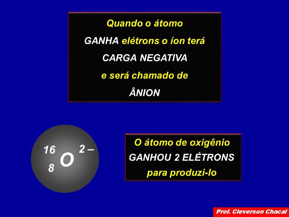 Quando o átomo GANHA elétrons o íon terá CARGA NEGATIVA e será chamado de ÂNION Quando o átomo GANHA elétrons o íon terá CARGA NEGATIVA e será chamado de ÂNION O átomo de oxigênio GANHOU 2 ELÉTRONS para produzi-lo O átomo de oxigênio GANHOU 2 ELÉTRONS para produzi-lo O 16 8 2 – Prof.