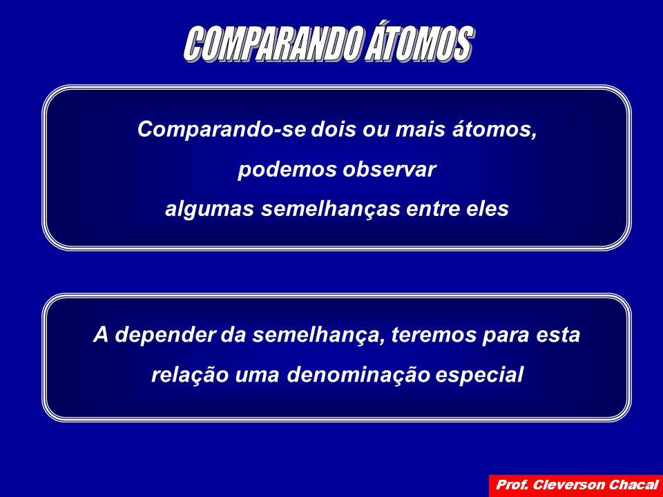 Comparando-se dois ou mais átomos, podemos observar algumas semelhanças entre eles A depender da semelhança, teremos para esta relação uma denominação especial Prof.