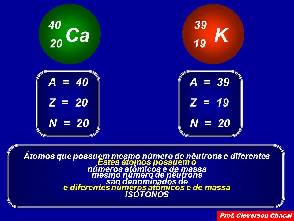Ca 40 20 K 39 19 Z = 20 A = 40 N = 20 Z = 19 A = 39 N = 20 Estes átomos possuem o mesmo número de nêutrons e diferentes números atômicos e de massa Átomos que possuem mesmo número de nêutrons e diferentes números atômicos e de massa são denominados de ISÓTONOS Prof.