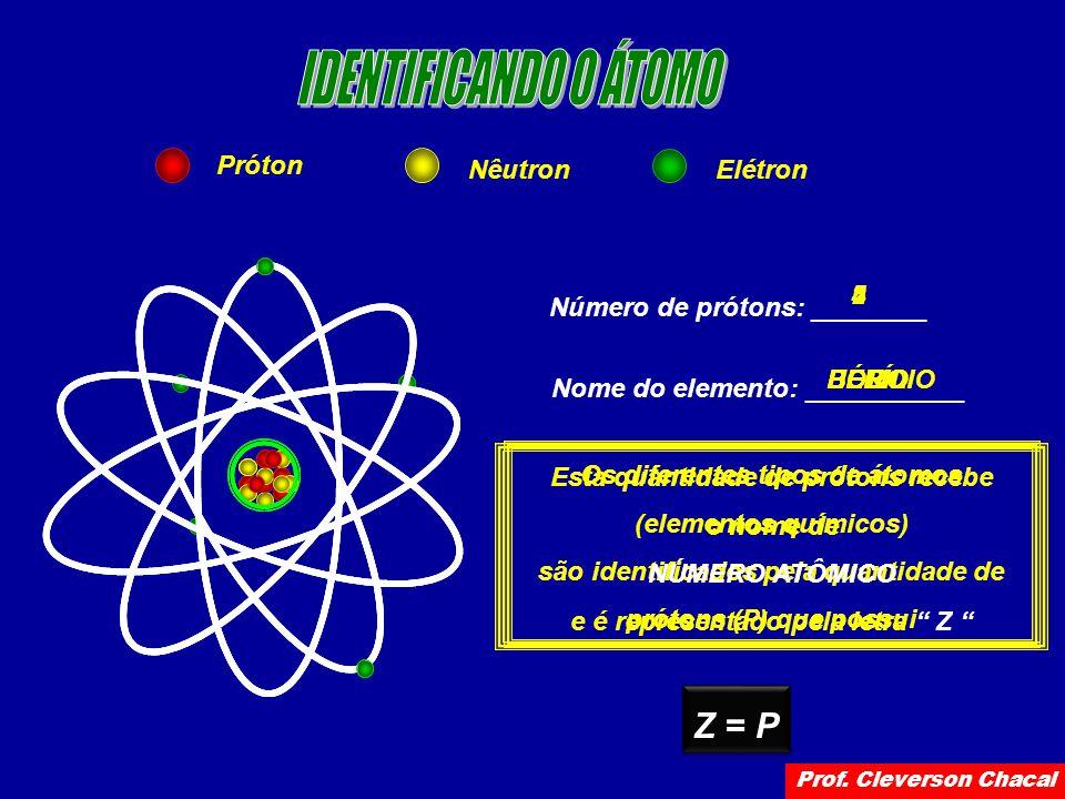 Próton NêutronElétron Número de prótons: ________ Nome do elemento: ___________ 5 BORO 4 BERÍLIO 2 HÉLIO Os diferentes tipos de átomos (elementos químicos) são identificados pela quantidade de prótons (P) que possui Esta quantidade de prótons recebe o nome de NÚMERO ATÔMICO e é representado pela letra Z Z = P Prof.