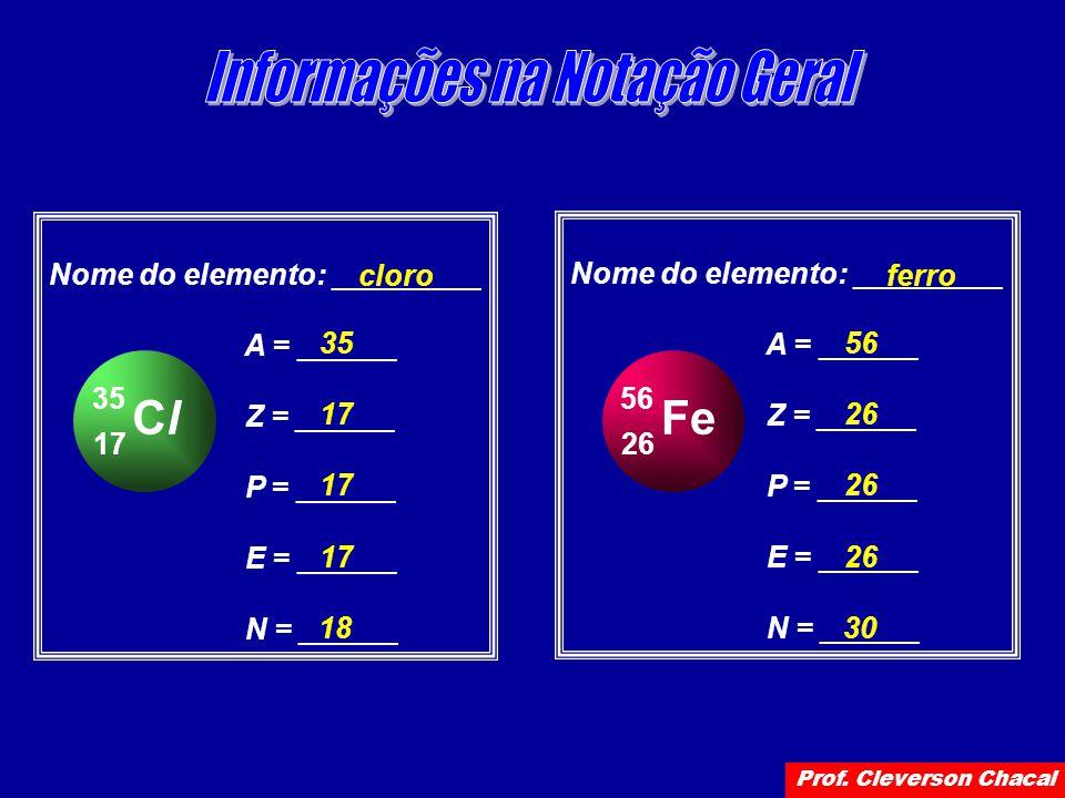 ClCl 17 35 Nome do elemento: _________ A = ______ Z = ______ P = ______ E = ______ N = ______ cloro 35 17 18 Fe 26 56 Nome do elemento: _________ A = ______ Z = ______ P = ______ E = ______ N = ______ ferro 56 26 30 Prof.