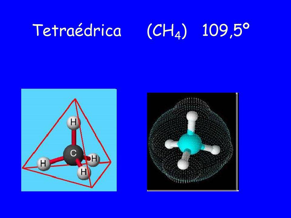 Tetraédrica (CH 4 ) 109,5º