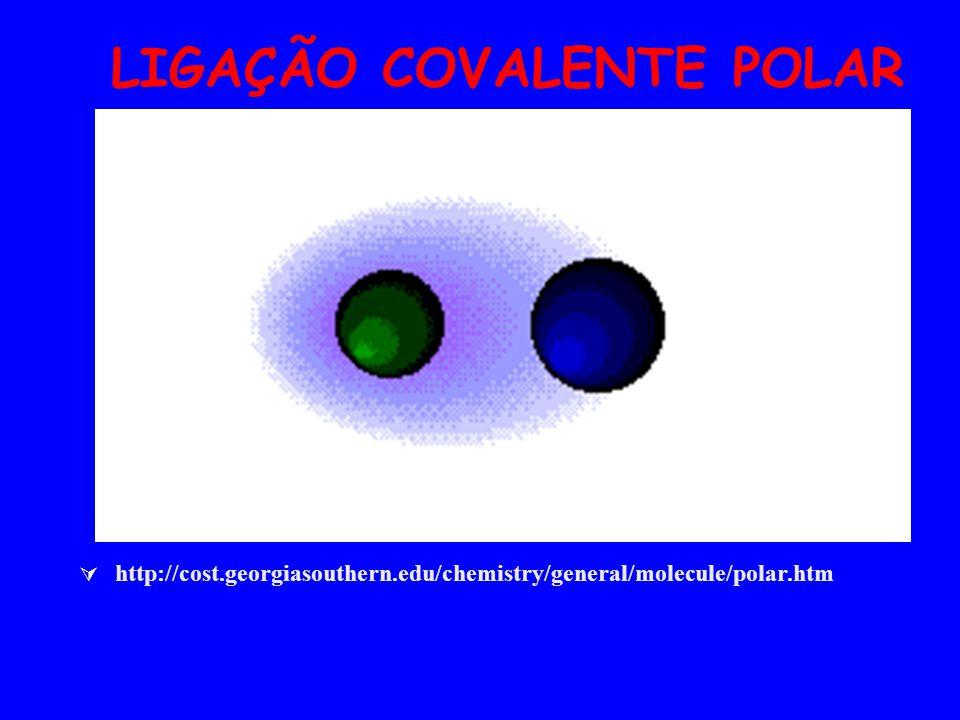 LIGAÇÃO COVALENTE POLAR http://cost.georgiasouthern.edu/chemistry/general/molecule/polar.htm