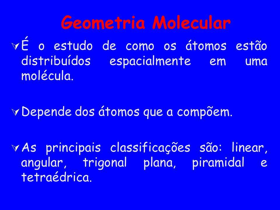 Geometria Molecular É o estudo de como os átomos estão distribuídos espacialmente em uma molécula. Depende dos átomos que a compõem. As principais cla