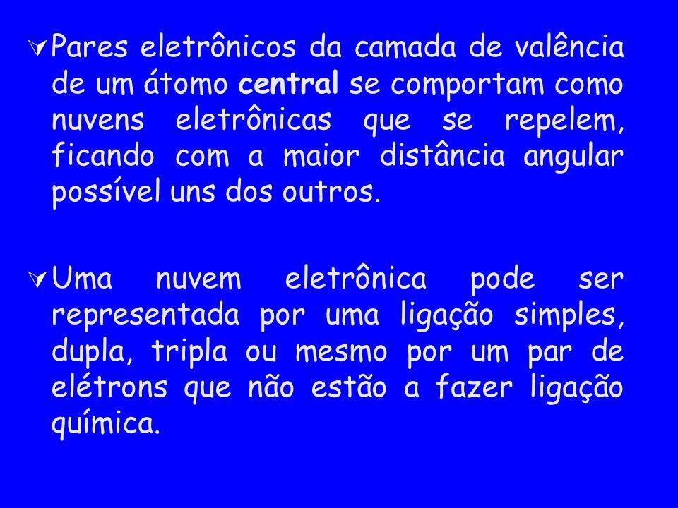Pares eletrônicos da camada de valência de um átomo central se comportam como nuvens eletrônicas que se repelem, ficando com a maior distância angular