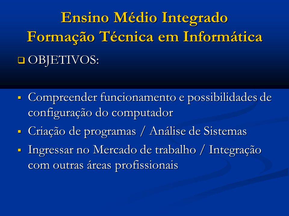 Ensino Médio Integrado Técnico em Informática DURAÇÃO: 3 ANOS DURAÇÃO: 3 ANOS ESTÁGIO SUPERVISIONADO ESTÁGIO SUPERVISIONADO EM EMPRESA, COM DURAÇÃO DE 400 HORAS EM EMPRESA, COM DURAÇÃO DE 400 HORAS PODE SER FEITO EM QUALQUER EMPRESA/INSTITUIÇÃO E HÁ CONVÊNIO DO COLÉGIO PEDRO II COM DIVERSAS EMPRESAS E INSTITUIÇÕES, VISANDO A FACILITAR A OBTENÇÃO DE ESTÁGIO.