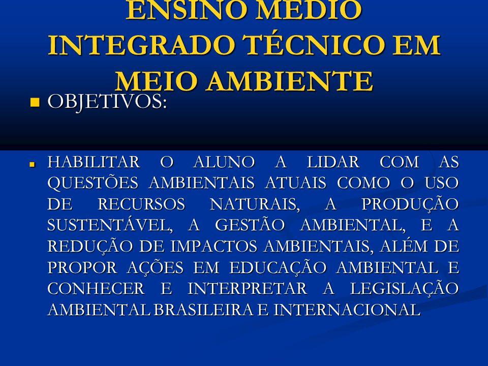 ENSINO MÉDIO INTEGRADO TÉCNICO EM MEIO AMBIENTE PÚBLICO ALVO: PÚBLICO ALVO: ALUNOS DO COLÉGIO PEDRO II CONCLUINTES DO 9º ANO ALUNOS DO COLÉGIO PEDRO II CONCLUINTES DO 9º ANO DURAÇÃO : DURAÇÃO : 3 ANOS DE CURSO MAIS ESTÁGIO SUPERVISIONADO (até 18 meses para concluir), COM CARGA HORÁRIA DE NO MÍNIMO 200 HORAS.
