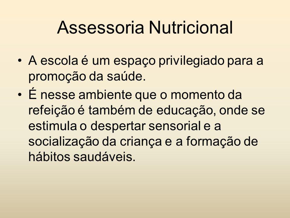Assessoria Nutricional A escola é um espaço privilegiado para a promoção da saúde. É nesse ambiente que o momento da refeição é também de educação, on