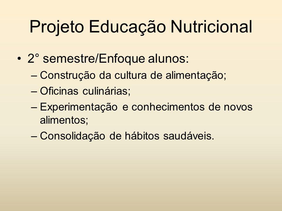 Projeto Educação Nutricional 2° semestre/Enfoque alunos: –Construção da cultura de alimentação; –Oficinas culinárias; –Experimentação e conhecimentos