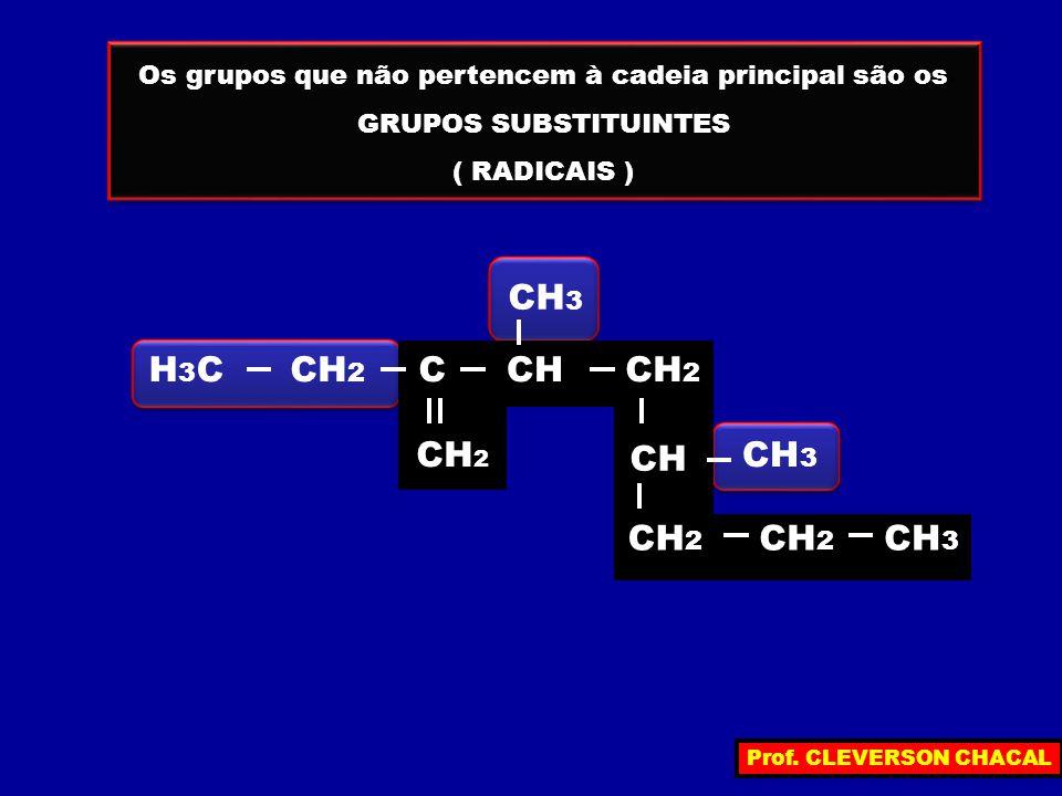 Os grupos que não pertencem à cadeia principal são os GRUPOS SUBSTITUINTES ( RADICAIS ) Os grupos que não pertencem à cadeia principal são os GRUPOS S