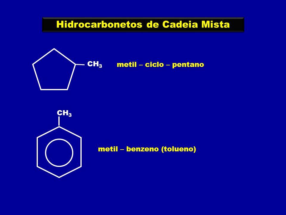 Hidrocarbonetos de Cadeia Mista CH 3 metil – ciclo – pentano CH 3 metil – benzeno (tolueno)