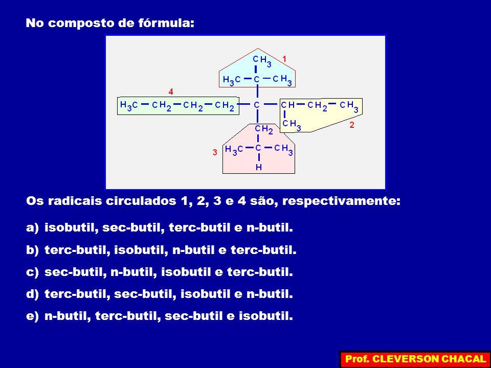 No composto de fórmula: Os radicais circulados 1, 2, 3 e 4 são, respectivamente: a)isobutil, sec-butil, terc-butil e n-butil. b)terc-butil, isobutil,