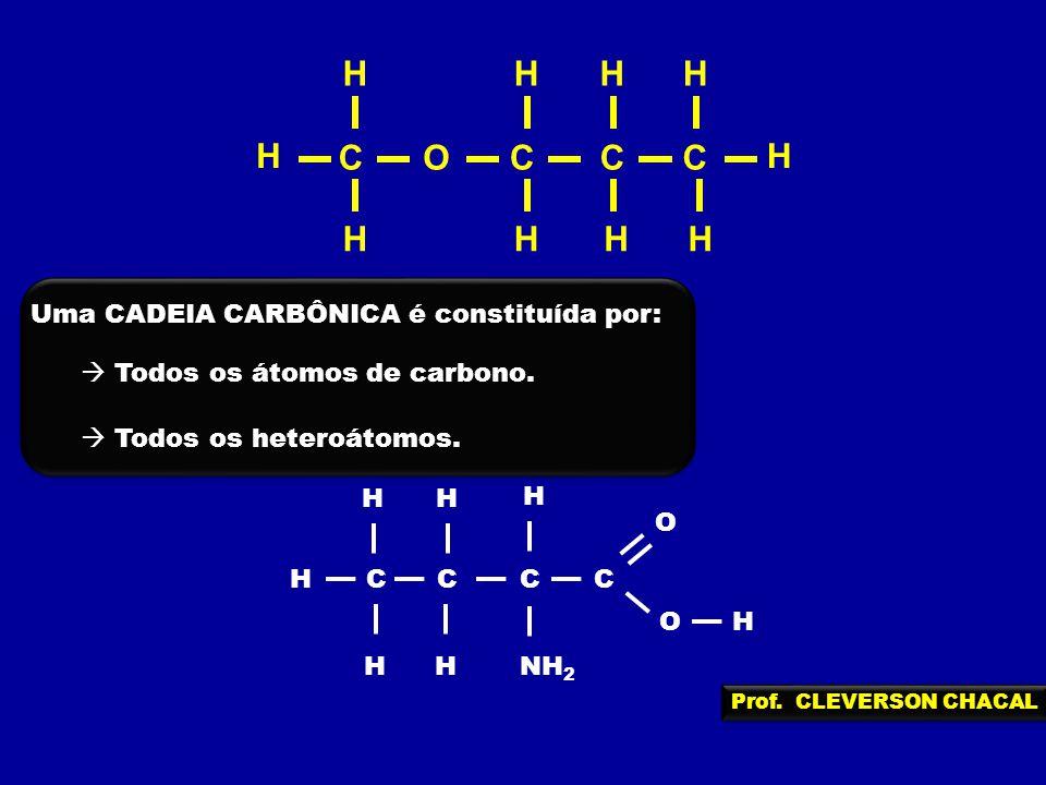 OCCCC H H H HH H HH H H Uma CADEIA CARBÔNICA é constituída por: Todos os átomos de carbono. Todos os heteroátomos. CCCC H HHNH 2 O H H OH H Prof. CLEV