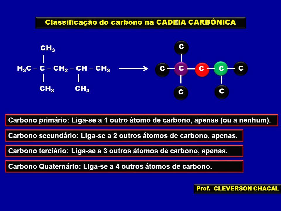 C CC C C C C H 3 C – C – CH 2 – CH – CH 3 CH 3 Classificação do carbono na CADEIA CARBÔNICA C Carbono Quaternário: Liga-se a 4 outros átomos de carbon