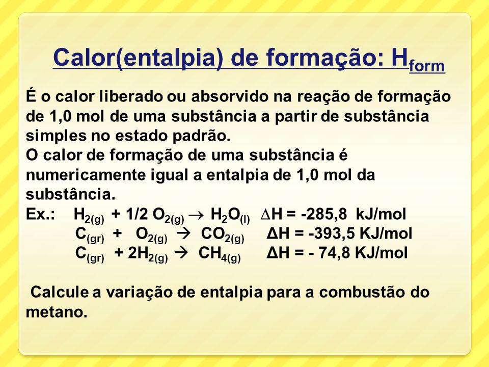 obs: nas reações termoquímicas devemos sempre colocar o estado físico das substâncias e /ou seu estado alotrópico (as entalpias são diferentes). O est