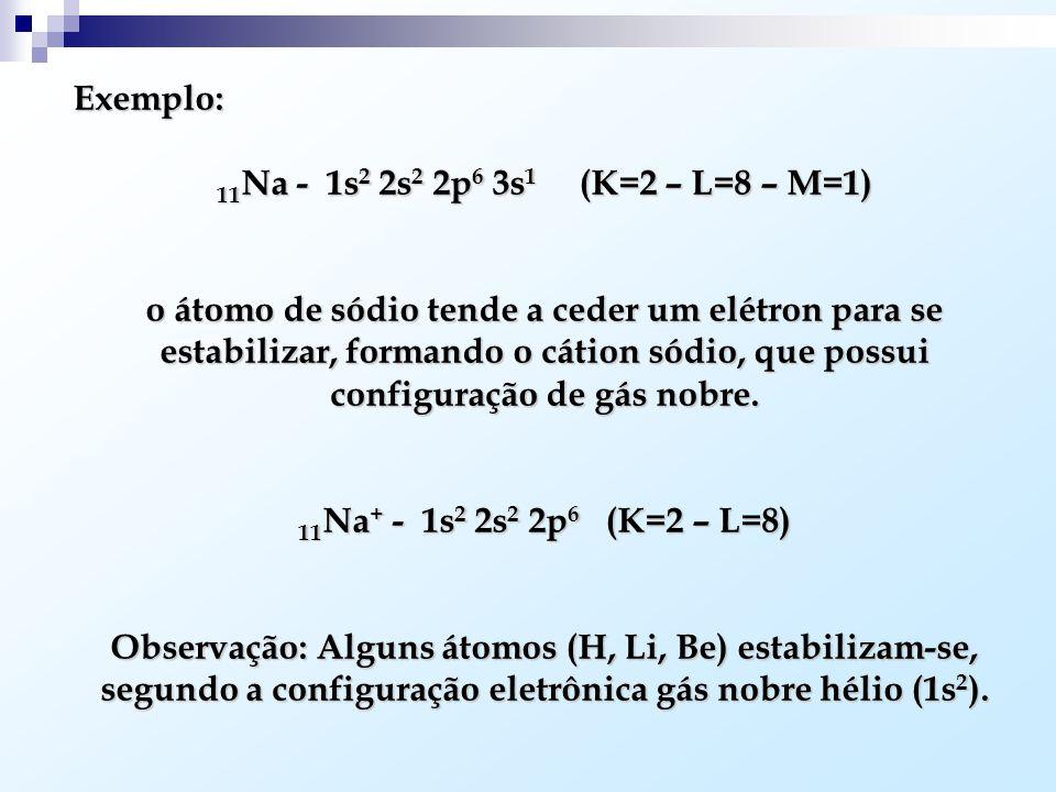 Exemplo: 11 Na - 1s 2 2s 2 2p 6 3s 1 (K=2 – L=8 – M=1) o átomo de sódio tende a ceder um elétron para se estabilizar, formando o cátion sódio, que possui configuração de gás nobre.