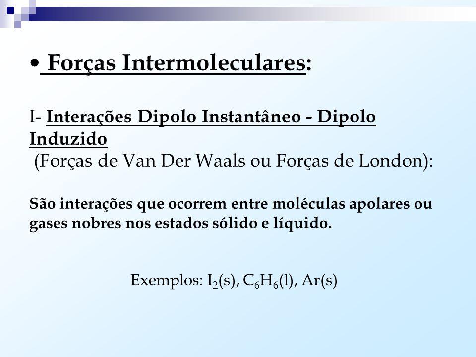 Princípio Geral da Solubilidade: (semelhante dissolve semelhante) Substâncias polares são solúveis em substâncias polares (H 2 O + NH 3 ) e substância