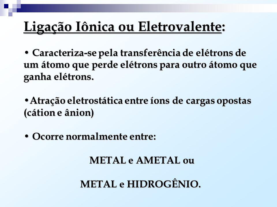Ligação Iônica ou Eletrovalente: Caracteriza-se pela transferência de elétrons de um átomo que perde elétrons para outro átomo que ganha elétrons.