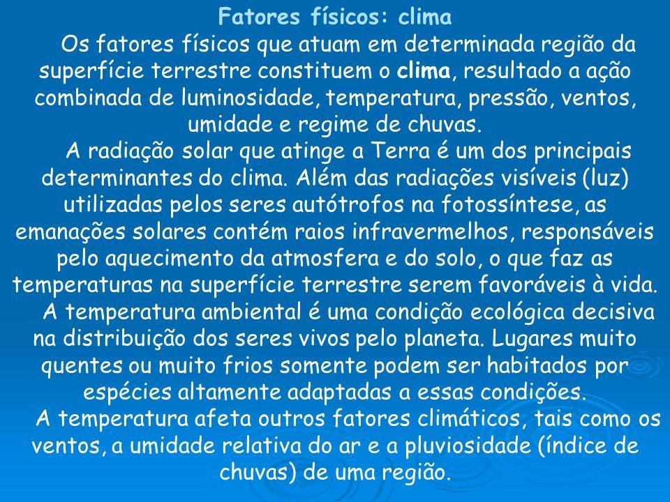 Fatores físicos: clima Os fatores físicos que atuam em determinada região da superfície terrestre constituem o clima, resultado a ação combinada de luminosidade, temperatura, pressão, ventos, umidade e regime de chuvas.