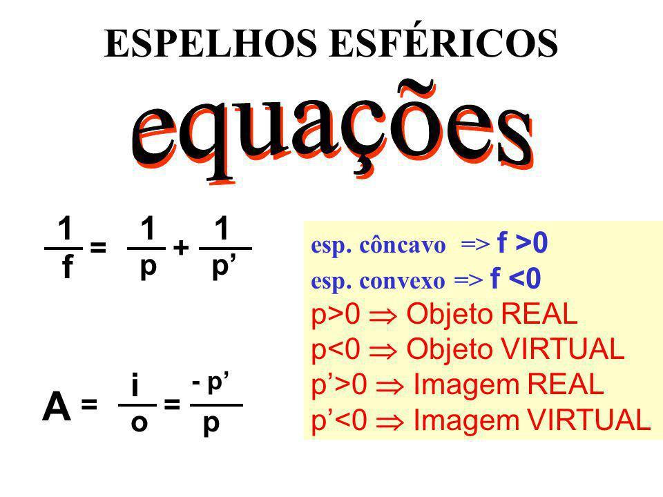 ESPELHOS ESFÉRICOS =+ 1 f 1 p 1 p - p == A i op esp. côncavo => f >0 esp. convexo => f <0 p>0 Objeto REAL p<0 Objeto VIRTUAL p>0 Imagem REAL p<0 Image