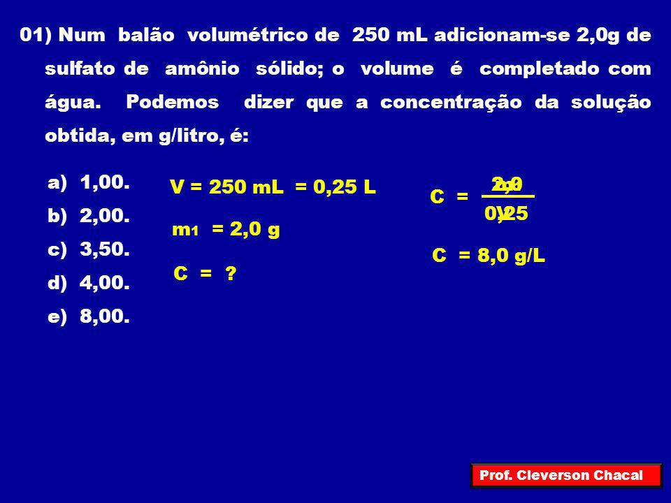 01) Num balão volumétrico de 250 mL adicionam-se 2,0g de sulfato de amônio sólido; o volume é completado com água. Podemos dizer que a concentração da