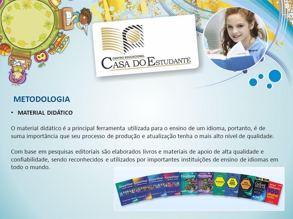 METODOLOGIA MATERIAL DIDÁTICO O material didático é a principal ferramenta utilizada para o ensino de um idioma, portanto, é de suma importância que s