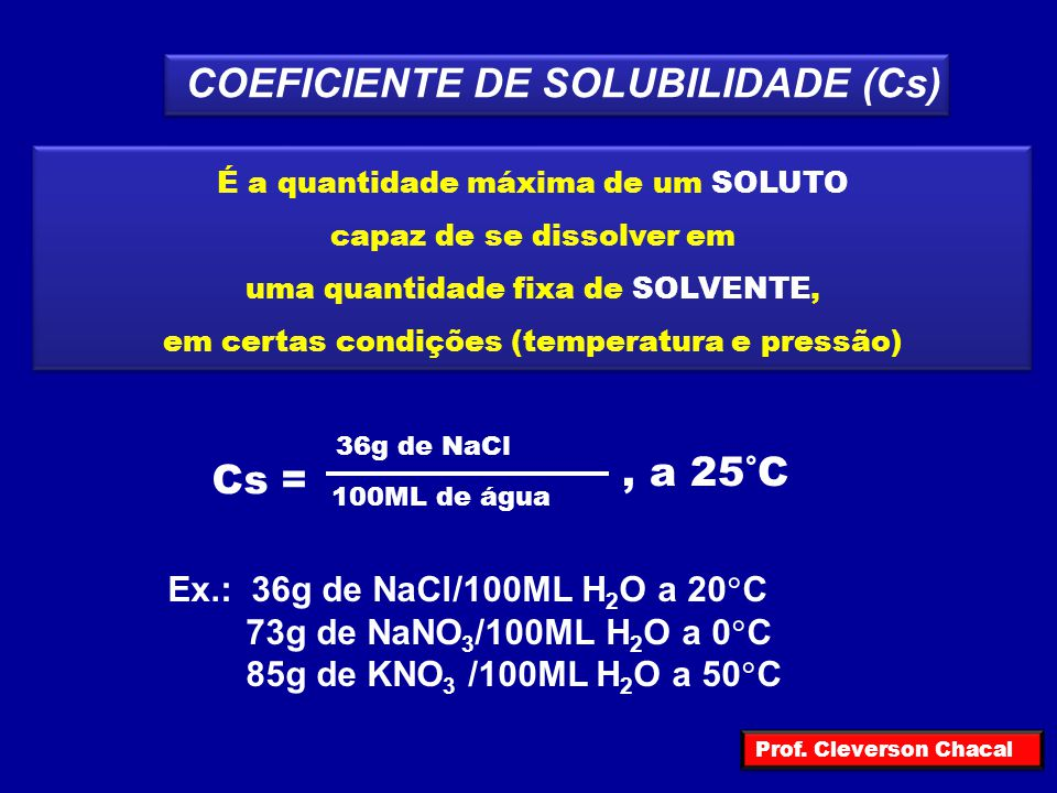 Quando na solução temos uma quantidade de soluto MENOR que o máximo permitido pelo coeficiente de solubilidade a solução será classificada como solução INSATURADA Cs = 36g de NaCl 100MLg de água, a 15°C 100ML de água a 15°C 33g de NaCl Prof.
