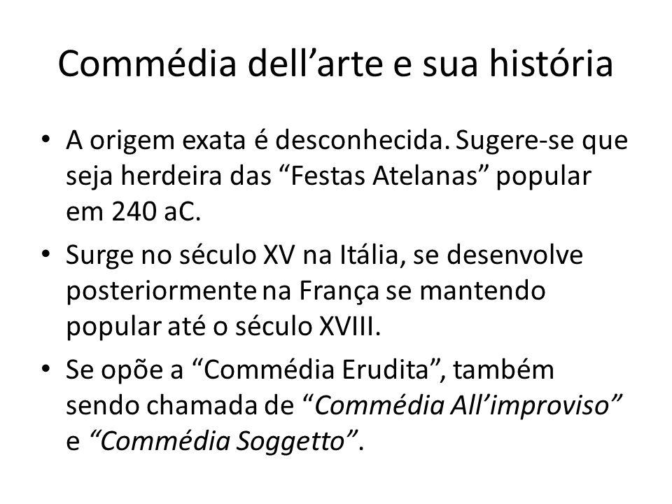 Commédia dellarte e sua história A origem exata é desconhecida. Sugere-se que seja herdeira das Festas Atelanas popular em 240 aC. Surge no século XV