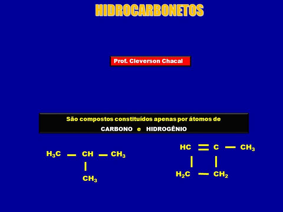 Podemos classificar os HIDROCARBONETOS em: ALCANOS H3CH3C CH 3 CH 2 ALCENOS H2CH2C CH 3 CH ALCINOS HC CH 3 Ξ C ALCADIENOS H2CH2C CH 2 C CICLANOS ou CICLOALCANOS H2CH2C H2CH2CCH 2 CICLENOS ou CICLOALCENOS H2CH2C HCCH CH 2 AROMÁTICOS