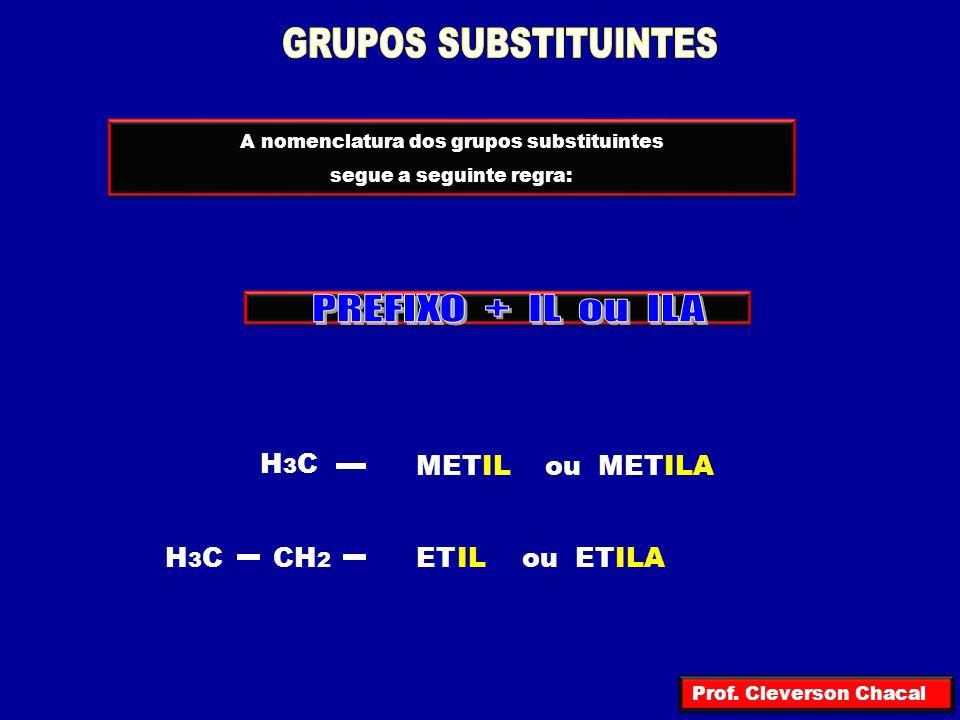H 3 C – CH – CH 2 – CH 3 butil H 3 C – CH 2 – CH 2 – CH 2 – butil H 3 C – CH – CH 2 – CH 3 butil H 3 C – C – CH 3 CH 3 sec n – iso terc OUTROS RADICAIS (SUBSTITUINTES) IMPORTANTES H 3 C – CH – CH 3 H 3 C – CH 2 – CH 2 – propil n – propiiso