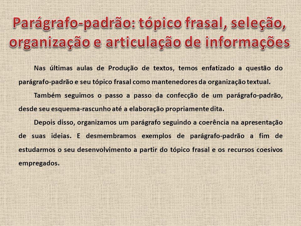 Nas últimas aulas de Produção de textos, temos enfatizado a questão do parágrafo-padrão e seu tópico frasal como mantenedores da organização textual.