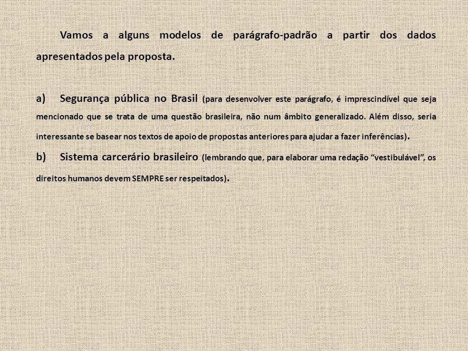 Vamos a alguns modelos de parágrafo-padrão a partir dos dados apresentados pela proposta. a)Segurança pública no Brasil (para desenvolver este parágra