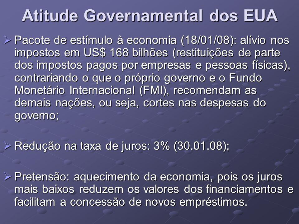 Atitude Governamental dos EUA Pacote de estímulo à economia (18/01/08): alívio nos impostos em US$ 168 bilhões (restituições de parte dos impostos pagos por empresas e pessoas físicas), contrariando o que o próprio governo e o Fundo Monetário Internacional (FMI), recomendam as demais nações, ou seja, cortes nas despesas do governo; Pacote de estímulo à economia (18/01/08): alívio nos impostos em US$ 168 bilhões (restituições de parte dos impostos pagos por empresas e pessoas físicas), contrariando o que o próprio governo e o Fundo Monetário Internacional (FMI), recomendam as demais nações, ou seja, cortes nas despesas do governo; Redução na taxa de juros: 3% (30.01.08); Redução na taxa de juros: 3% (30.01.08); Pretensão: aquecimento da economia, pois os juros mais baixos reduzem os valores dos financiamentos e facilitam a concessão de novos empréstimos.