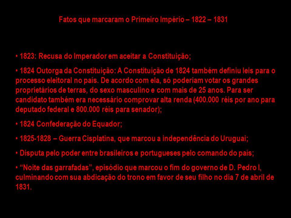 Período regencial: 1831 - 1840 Foi um dos mais importantes e agitados períodos da História brasileira; nele se firmou a unidade territorial do país, a estruturação das Forças Armadas, debateu-se a centralização do poder e, ainda, o grau de autonomia das Províncias.