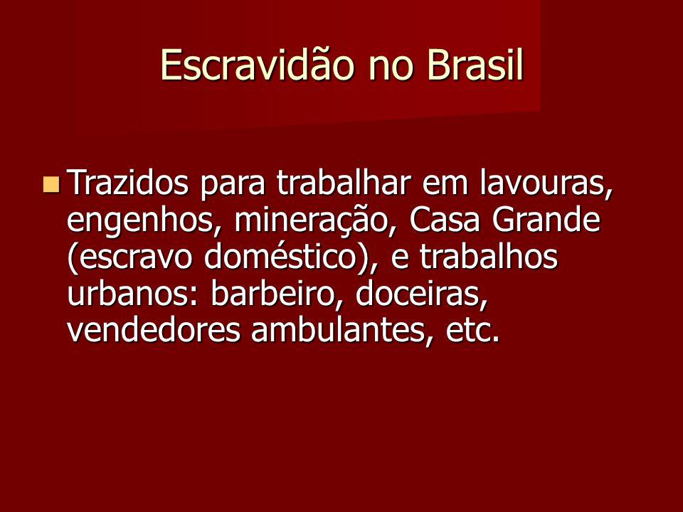 Escravidão no Brasil Trazidos para trabalhar em lavouras, engenhos, mineração, Casa Grande (escravo doméstico), e trabalhos urbanos: barbeiro, doceira