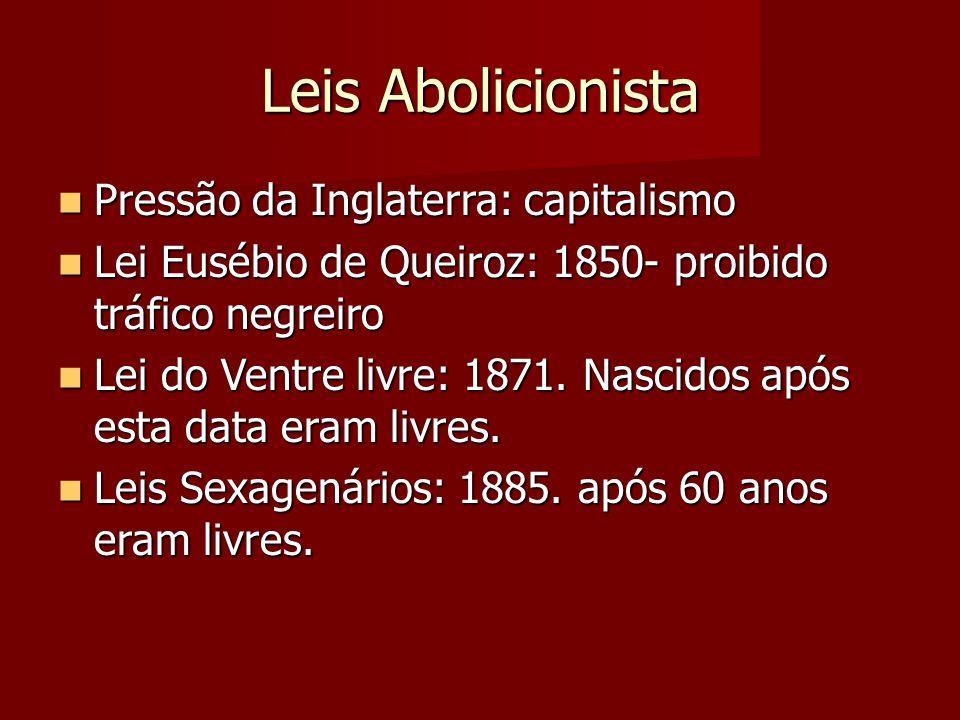 Leis Abolicionista Pressão da Inglaterra: capitalismo Pressão da Inglaterra: capitalismo Lei Eusébio de Queiroz: 1850- proibido tráfico negreiro Lei E
