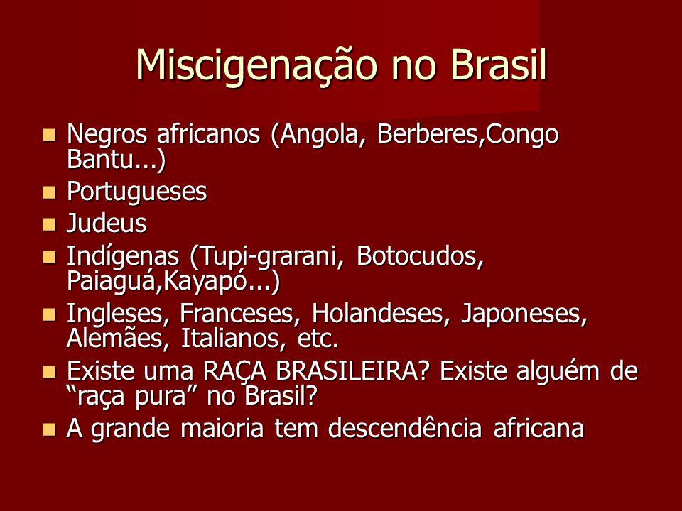 Miscigenação no Brasil Negros africanos (Angola, Berberes,Congo Bantu...) Negros africanos (Angola, Berberes,Congo Bantu...) Portugueses Portugueses J