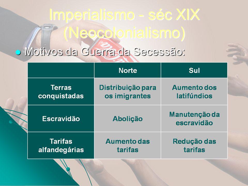 Imperialismo - séc XIX (Neocolonialismo) Motivos da Guerra da Secessão: Motivos da Guerra da Secessão: