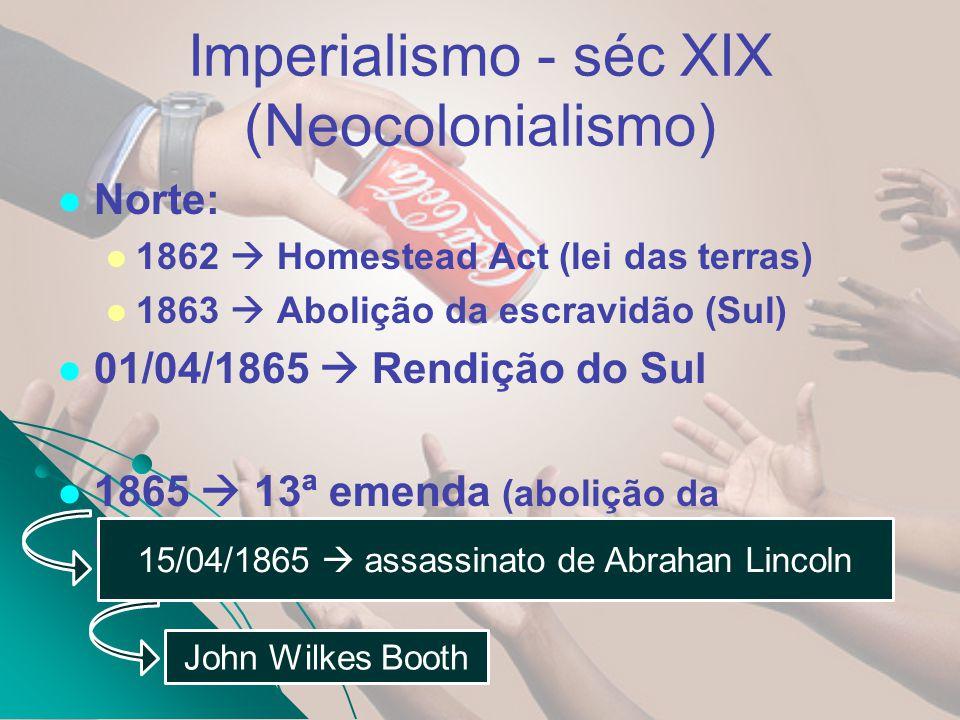 Imperialismo - séc XIX (Neocolonialismo) Norte: 1862 Homestead Act (lei das terras) 1863 Abolição da escravidão (Sul) 01/04/1865 Rendição do Sul 1865
