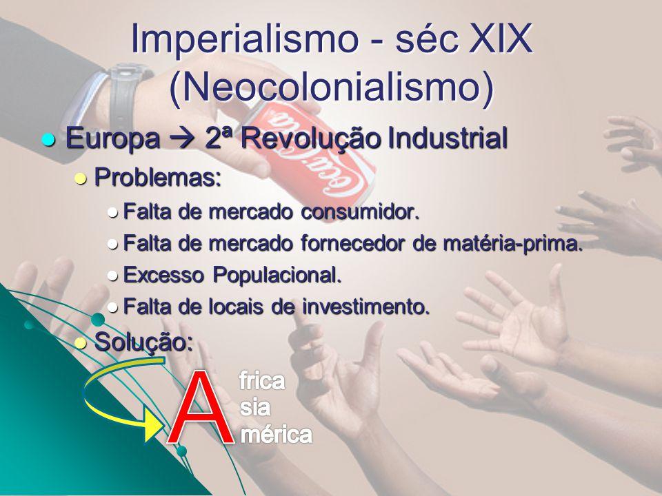 Europa 2ª Revolução Industrial Europa 2ª Revolução Industrial Problemas: Problemas: Falta de mercado consumidor. Falta de mercado consumidor. Falta de