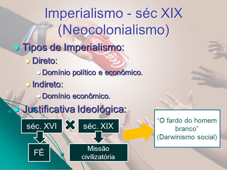 Imperialismo - séc XIX (Neocolonialismo) 1860 Eleito Abrahan Lincoln (norte) 04/03/1861 – Separação dos estados do sul.