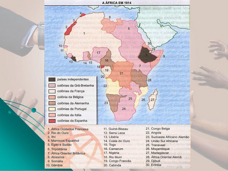 Imperialismo - séc XIX (Neocolonialismo) África: África: Conflitos internos: 1899 – 1901 Guerra dos Bôeres (África do Sul) Conflito entre ingleses e africânderes ou bôeres (descendentes holandeses) pelo domínio da região.