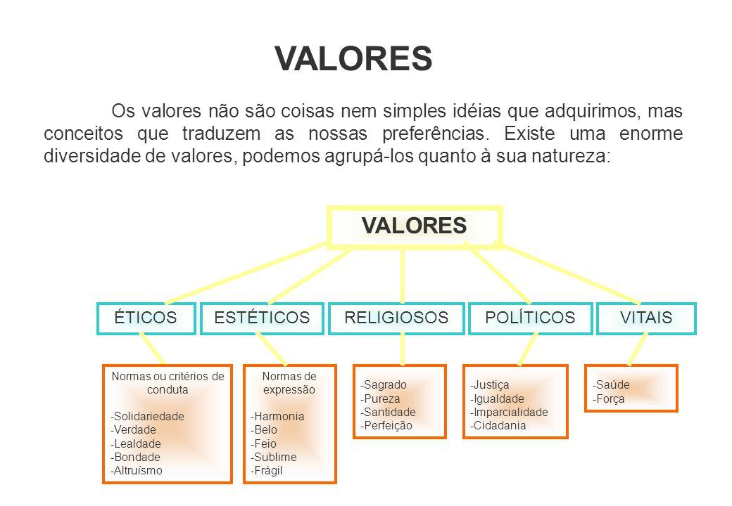 VALORES Os valores não são coisas nem simples idéias que adquirimos, mas conceitos que traduzem as nossas preferências. Existe uma enorme diversidade